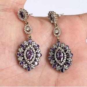 Sultan Ottoman Amethyst Topaz Drop Silver Earrings